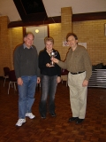 Alaric presents the Mary Rogers Trophy to Andrea & Dennis