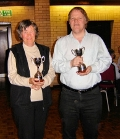 Maureen and Chris with their trophies